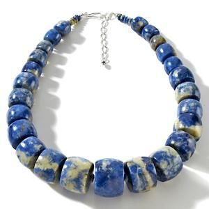 Jay King Mine Finds Blue Carnival Stone Beaded Necklace Sterling