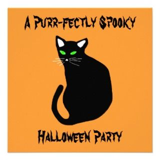 Kids Black Cat Halloween Party Personalized Announcement