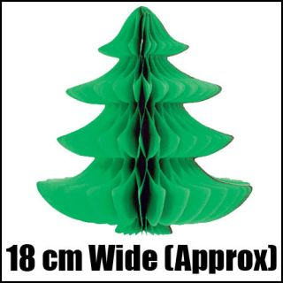 Green Crepe Paper Christmas Party Tree x mas Hanging Decoration 18cm