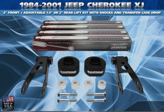 84 01 Jeep Cherokee XJ 2+ 2 Lift Kit, Transfer Case Drop, Shackles