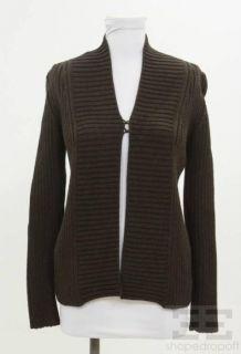 Jean Paul Gaultier Brown Wool Rib Knit Cardigan Size M