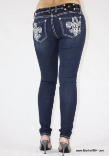 Skinny Miss Me Jeans Women Navy Blue Jean Jeggings Fleur de Lis