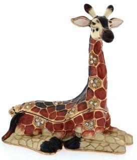 Bejeweled Enamel Trinket Jewelry Box, Top Opens w/ Magnet, Giraffe