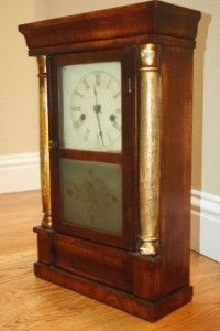 Antique Jerome Pillar Empire Mantel Shelf Clock