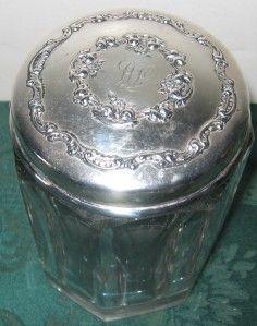 Sterling Lidded and Cut Glass Dresser Jar Goodnow Jenks Boston
