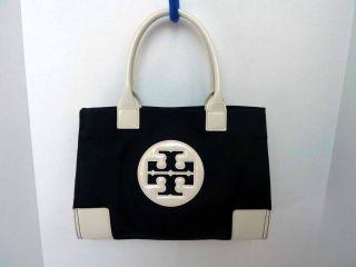 NWT Tory Burch Black Ivory Canvas Leather Logo Reva MINI ELLA Tote GAR