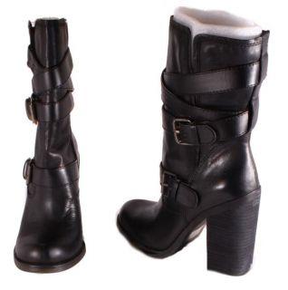 Jessica Simpson Tylera Womens Black Skipper Mid Calf Leather Boots