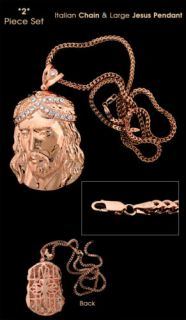 New Red Gold Silver Jesus Face Pendant Franco Chain