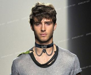 Heart Dangle Pendant Chain Punk Goth Leather Necklace Collar Choker 1