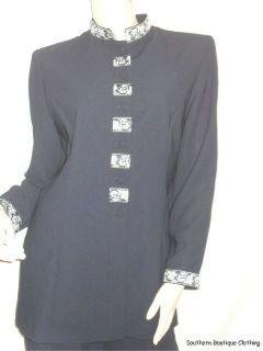 Jessica Howard Sz 12 Navy Blue Long Jacket Evening Metallic Print