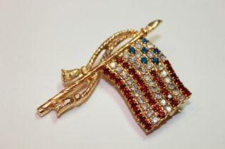 Vintage Rafaelian Crystal American Flag Pin Signed XLNT