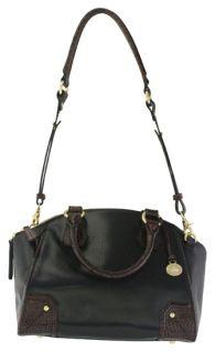 Brahmin Tyler Black Tuscan Dome Satchel Leather Handbag New