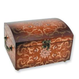 New Large Hand Painted Wood Floral Jewelry Box Chest
