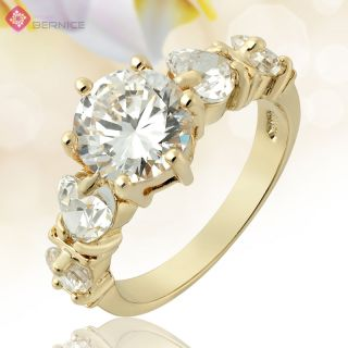 Jewelry Topaz Rhinestones Gold Plated Gp Cocktail Gift Cocktail Ring 6