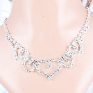 Necklace Earring Pins Set Wedding Bridal Crystal Rhinestone Jewelry