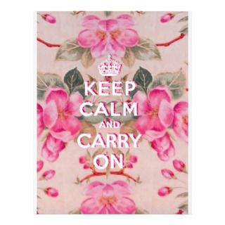 Girly keep calm..Vintage pink elegant floral roses Letterhead Template