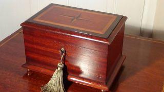 Quality Antique Mahogany Inlaid Jewellery Box Casket Circa 1870