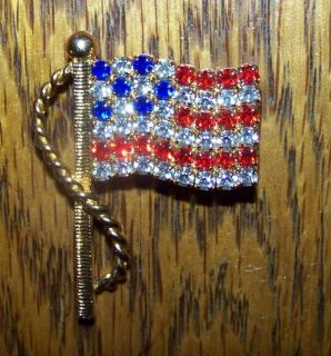 Vintage American Flag Rhinestone Jewelry Brooch Pin