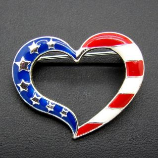 Heart Red White Blue American Flag Heart Pin Brooch Patriotic