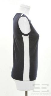 Jil Sander Navy Blue White Cashmere Sleeveless Sweater Size 38