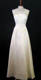 Jessica McClintock Light Ivory Satin Lace Wedding Gown Size 4