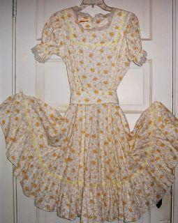 Jeri Bee Square Dance Dress Western Rockabily Yellow White Flowers