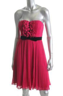 Jill Stuart New Pink Chiffon Ruffled Pleated Strapless Clubwear Dress