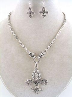 Inspired Silver Fleur de Lis Necklace Rhinestone Fleur de Lis