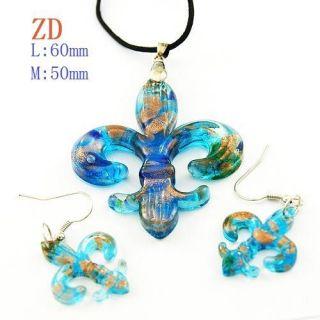 Ladys Murano Lampwork Glass Blue Fleur de lis Pendant Earring Necklace