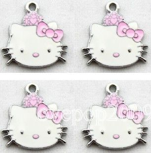 Lot 50 pcs Hello Kitty Jewelry Making Metal Charm pendants Party Gifts