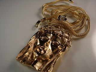 Yellow Gold EP Jesus Face Charm Franco Chain Necklace
