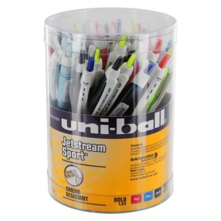 36 Uni Ball Jetstream Sport Retractable Ballpoint Pens, Assorted Ink