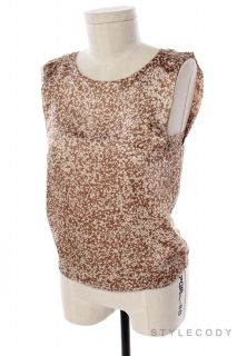 New J Jill Womens Print Round Neck Sleeveless Career Blouse Top Brown