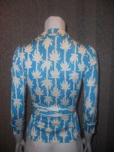 DVF Diane Von Furstenberg Jill Vintage Silk Jersey Wrap Top Palm Vine