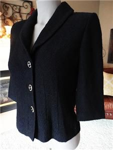Womens 2 4 6 St John Collection Marie Gray Black Stretch Knit Gold