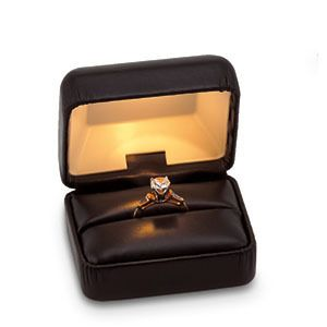 Black Leatherette Lighted Ring Jewelry Box Engagement Light Leather