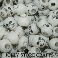 100 Glow Dark Skull Pony Beads Goth Jewelry Halloween