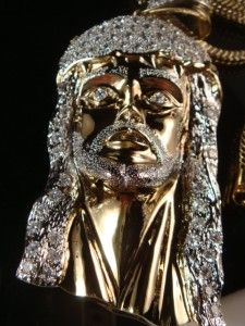 Mens New 14k Gold Plated Franco Chain XL Jesus Face Set