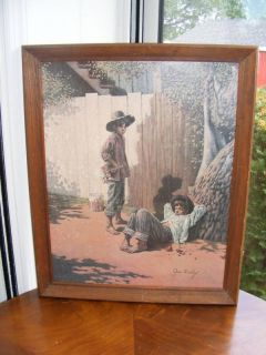 Tom Sawyer Print Framed Jim Daly Huck Fin White Fence
