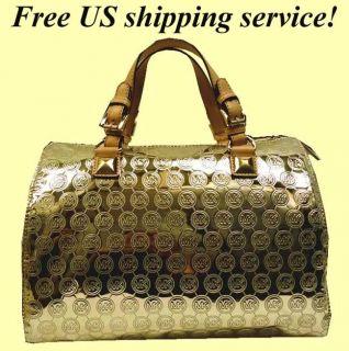 MICHAEL KORS Grayson Lg Jet Set gold Monogrammed satchel Tote 328 FREE