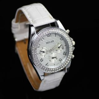 Fashion Leather Band Bling Crystal Ladies Wrist Watch