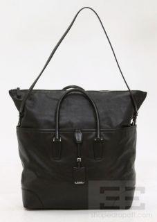 Jil Sander Black Leather Convertible Large Tote Handbag