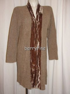 BFS12~J. JILL Size M/Medium Brown Velvet Trim Shawl Merino Wool LS