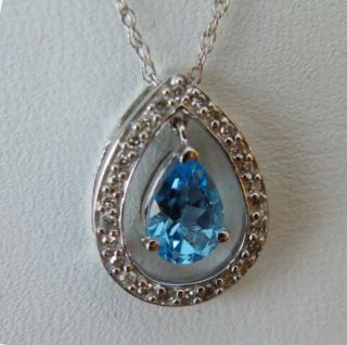 10KT White Gold 86ct Swiss Blue Topaz Slide Pendant