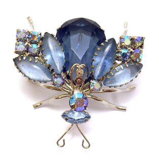 Pin Juliana Articulating Wings Fly Figural Rhinestone Jewelry