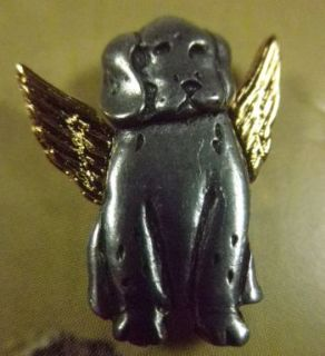 Dog Angel Pin Carded Gift Box Gold Tone Wings Pewter Tac New