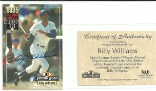 1995 Jimmy Dean Billy Williams All Time Greats Auto Autograph w COA