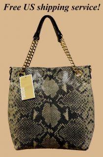 MICHAEL KORS jet set chain gathered python leather handbag xx FREE