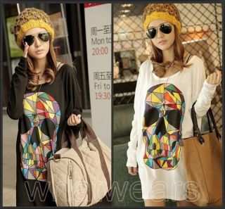 JJ Fashion Womens Colorful Skull Batwing Loose Blouse Top T Shirt 2