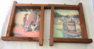 Pair of Vintage Jim Daly Picture Prints Framed in Rustic Wood Frames